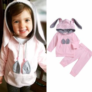 Puseky Baby Kids Toddler Rabbit Ear Cotton Outfits Set Long Sleeve Hooded Hoodie Tops Pants Bunny Pocket suit clothing sets