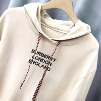 Free shipping-Burberry Tide brand autumn and winter new letter embroidery casual wild hooded sweater