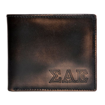SIGMA ALPHA EPSILON Bifold Wallet - Mens Wallet - Leather Wallet - Bifold