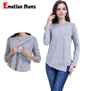 Emotion Moms Fashion Maternity Clothes long sleeve Maternity tops Nursing top Breastfeeding Clothes for Pregnant Women T-shirt