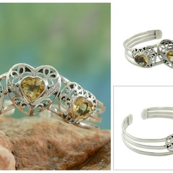 Citrine cuff bracelet, 'Golden Hearts'