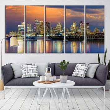 57993 - Boston City Decorative Wall Art Canvas Print - Boston Skyline, Boston, Boston Canvas, Boston Wall Art, Canvas Print, Boston Print, Wall Art,