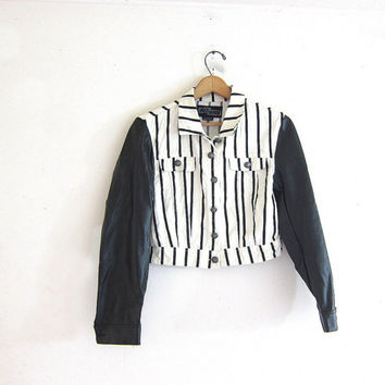 CIJ 25% OFF SALE Vintage black and white jacket. cropped cotton jacket. faux leather sleeves