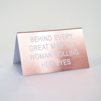 office talk woman rolling her eyes desk sign-rose gold