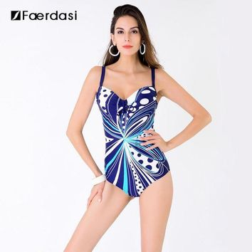 CREY8UV Faerdasi 2017 New Arrival Sexy Plus Size One Pieces Swimming Suit Floral Print Swimwear Adjustable Straps Bathing Suit FD81636