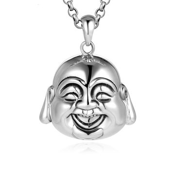 Authentic 925 Sterling Silver Buddhist Maitreya Head Pendant