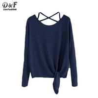 Dotfashion Long Sleeve Shirts Vintage T Shirt Long Sleeve Top Dark Blue Drop Shoulder Criss Cross Tie Front T-Shirt