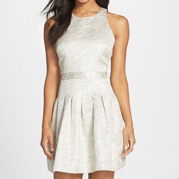 Women's CeCe by Cynthia Steffe 'Aubrey' Metallic Jacquard Fit & Flare Dress,