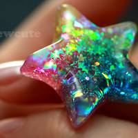 Bright Rainbow Star Ring Catch a Falling Star Like by isewcute