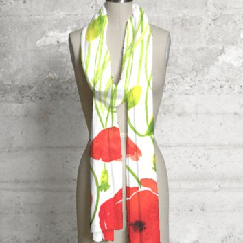 Red Poppies MODAL scarf