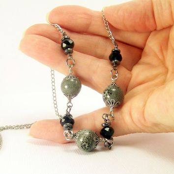 Black and Grey Porcelain and Crystal Beaded Necklace
