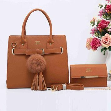 Kalete HERMES Fashion Tassel Ball  Women Shopping Leather Crossbody Satchel Shoulder Two Piece Brown I-XS-PJ-BB