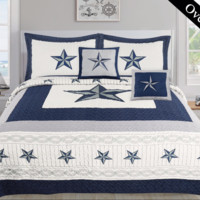 Dallas Cowboy Navy Blue Western Star Bedspread Quilt Set - 5 Piece Set (Bonus Pack)