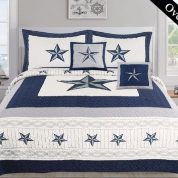 Texas Western Blue Star Comforter Set - 5 Piece Set (Bonus Pack)
