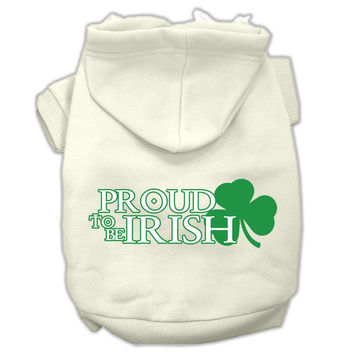 Proud to be Irish Screen Print Pet Hoodies Cream Size Lg (14)