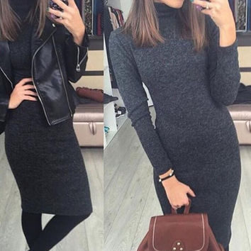 Winter & Autumn Slim Long Sleeve Dress Gray Keep Warm Womens Gift 79