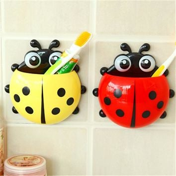1PC Ladybug Toothbrush Holder Toiletries Toothpaste Holder Bathroom Sets Suction Hooks Tooth Brush Container Ladybird  -50