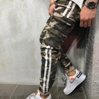 Cargo Camouflage Jeans Side Stripes
