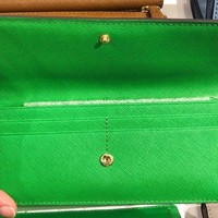 Michael Kors Jet Set Travel Green Flat Wallet Saffiano Leather NWT