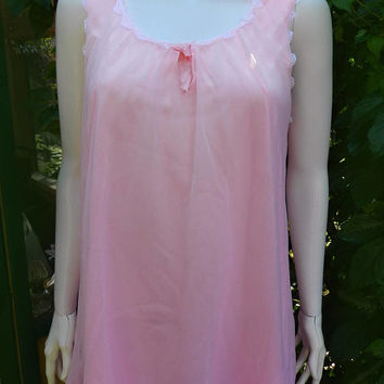 Vintage Pink Chiffon Satin Short Nightgown, Romantic Pink Baby Doll Lingerie Size Small