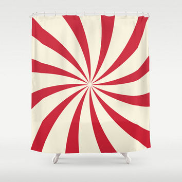 Red Shower Curtain Swirl Circus Theme Retro Baby Children Child Boy Girl Bath Room Home Decor