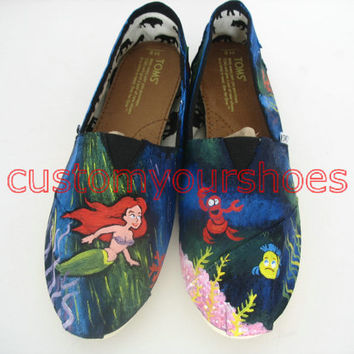 custom TOMS Little Mermaid Toms inspired handpainted shoes can do any theme you like