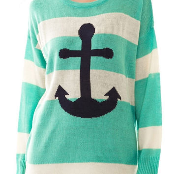 Mint Anchors Ahoy Sweater