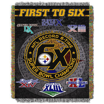 Pittsburgh Steelers NFL Super Bowl Commemorative Woven Tapestry Throw (48x60)