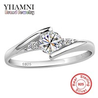 Send Silver Certificate Real 100% 925 Silver Ring 0.5 Carat CZ Diamant Wedding Rings For Women RING SIZE 4 5 6 7 8 9 10 YH500036