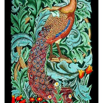 William Morris Green Acanthus Vine Peacock Counted Cross Stitch or Counted Needlepoint Pattern