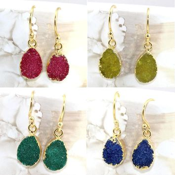 Black Friday Sale !! Pear Natural Agate Druzy Gold Electroplated Earring Jewelry