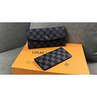 LV Tide brand women's fashion wild long classic old chess board wallet two-piece Black check