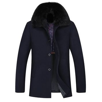 Long Fur Collar Men's Winter Woolen Coat Thick Warm Dark Navy Blue Trench Coat Men