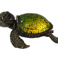 Green Fresh Water Sea World Tortoise Turtle Tiffany Style Desk Lamp (TLS1007A)