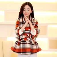 Women : Winter Wool Loose Fit Plaid Jacket with Waist Tie YRB0417