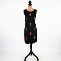 90s Summer Dress Women Sleeveless Black Dress Flamingo Embroidered Dress Linen Rayon Midi Dress Vintage Clothing Womens Clothing