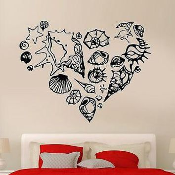 Wall Sticker Romantic Ocean Sea Marines Shell Heart Cool Art Bedroom Unique Gift (z2582)