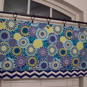 Custom Boutique Blue, Lime Green, Aqua with Chevron Valance - Lined Curtain - for Kitchen, Bathroom, Laundry, Bedroom - Window Treatments