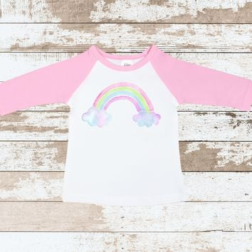 Rainbow Pink Raglan Shirt | Rainbow Pink Raglan for Toddlers | Rainbow with clouds Outfit