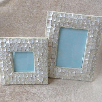 Mother of Pearl Picture Frames,  Pair of MOP Photo Frames, Coastal Decor, Beach Wedding, Vintage Pearl Shell Frames, Lot of 2