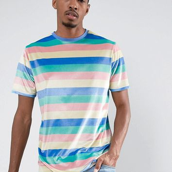ASOS Longline T-Shirt In Velour Pastel Stripe at asos.com