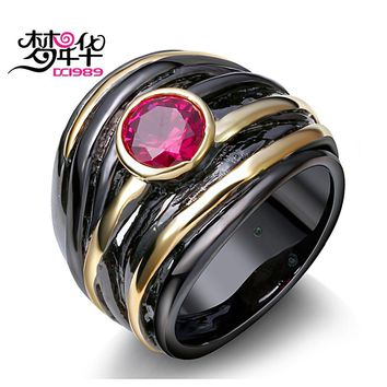 DreamCarnival 1989 Solitaire Ring for Women Vintage Black Gold Color Fuchsia Red CZ Wedding Parties Jewelry anillos mujer DC1989