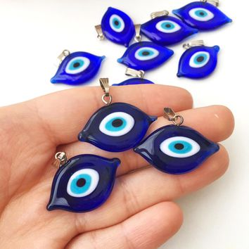Evil eye beads, blue evil eye charm, oval evil eye beads, murano glass beads