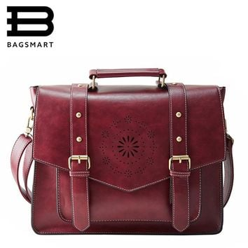 BAGSMART New Women PU Leather Handbag High Quality Retro Women Messenger Bags Famous Designer Leather Briefcase Shoulder Bag