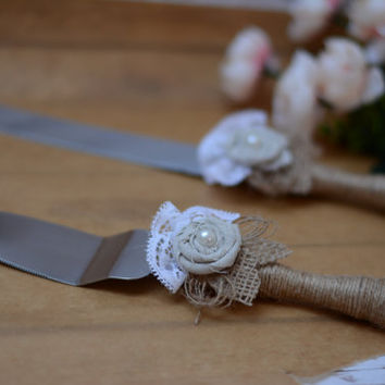 Cake Knife Serving Set Rustic CAke Serving Set Rustig CAke Servers Cutter Set Burlap