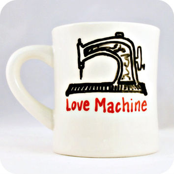 Sewing Love Machine Funny Tea Mug coffee tea cup diner mug black white red Valentines Day