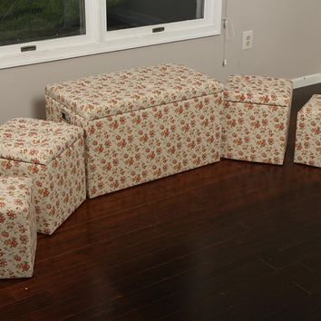 New Century® 5 Pieces Cloth Floral Design Storage Ottoman, Beige