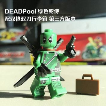 Deadpool Dead pool Taco Single Sale Super Heroes Custom MOC Green  With s Suitcase X-Man Figures Building Blocks Children Gift Toys 0259 AT_70_6