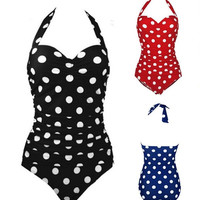 Sexy Women Bikini One Piece Push Up Swimsuit Polka dotted Bathing Suit Swimwear_trq = 1913354884