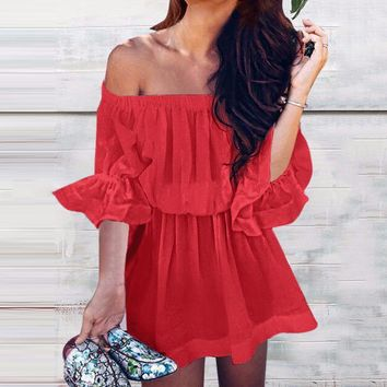Summer Fashion Women Sexy Pure Color Off Shoulder Dress Red
